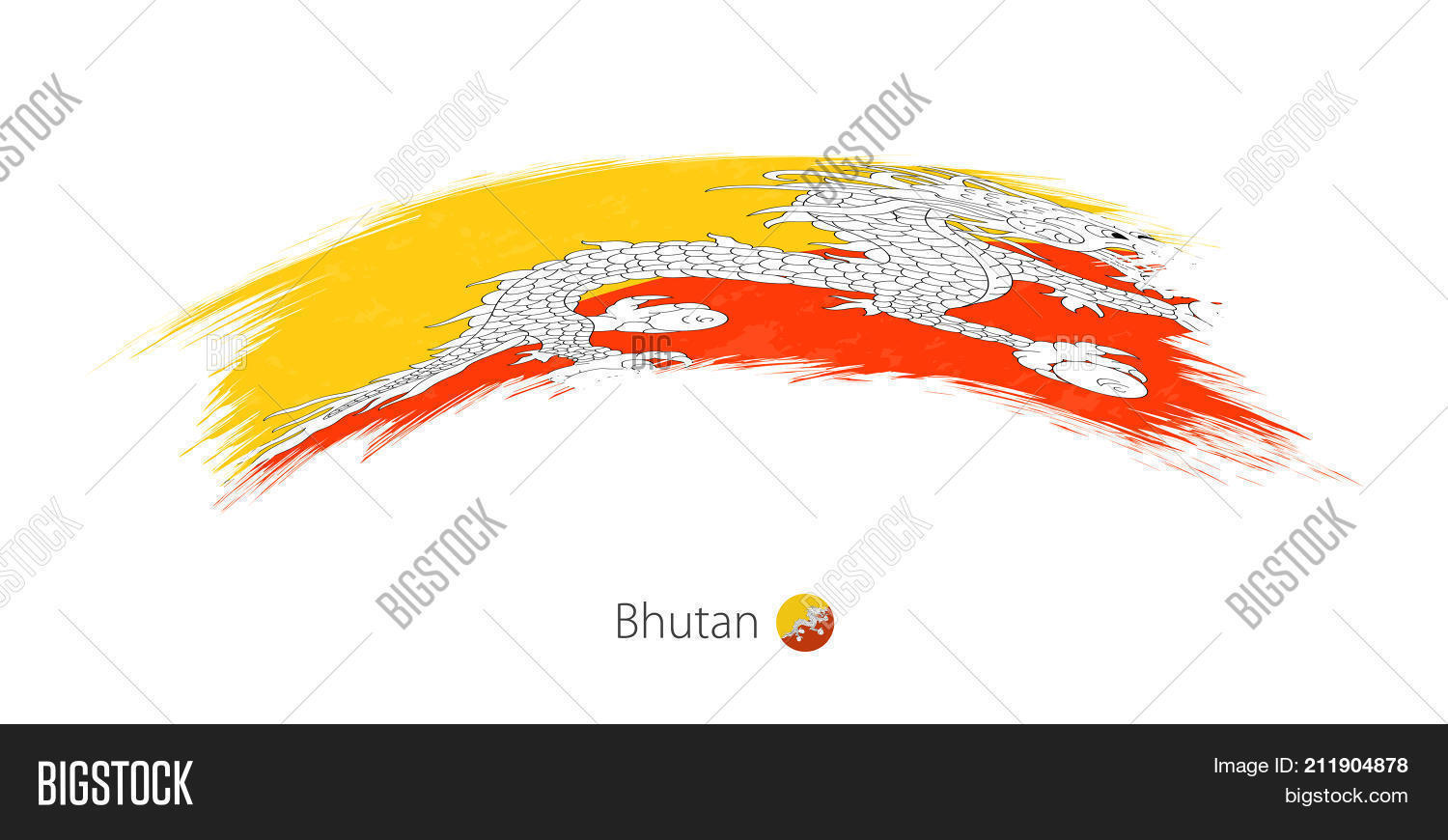 Flag Bhutan Rounded Vector & Photo (Free Trial)   Bigstock