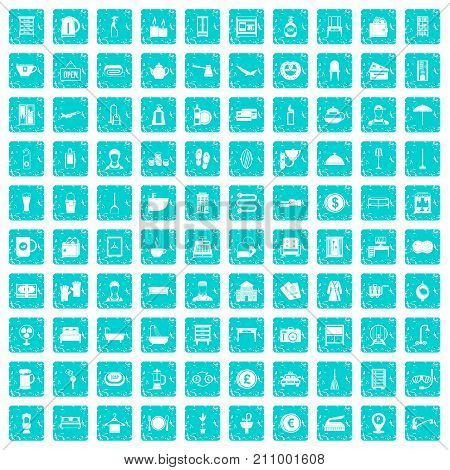 100 inn icons set in grunge style blue color isolated on white background vector illustration