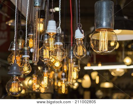 Group of Vintage Electric Light Bulbs with Incandescent Filament.