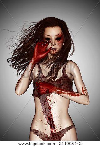 Revenge,3d illustration of Woman with knife full of blood