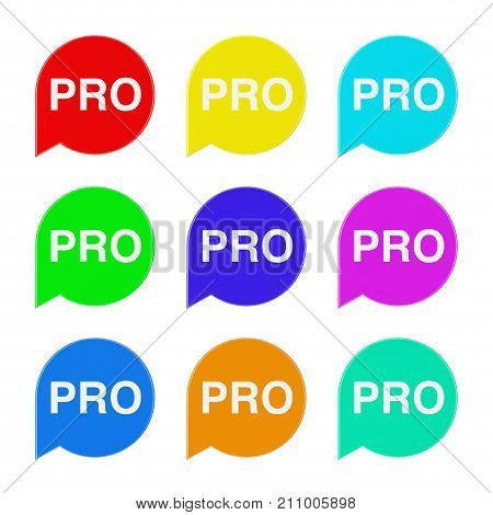 Set of Multicolour Speech Bubble Tag Lable with Pro Sign on a white background. 3d Rendering
