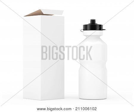 White Sport Plastic Water Bottle Mockup with Cardboard Kraft Paper Box Packaging on a white background. 3d Rendering