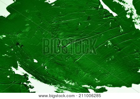 Green Background. Smears Of Oil Paint On White Background. Grunge Texture, Fresh Paint. Bright Desig