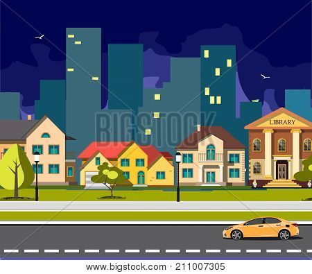 Night city cartoon with road. Vector illustration.