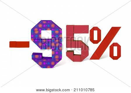 Origami paper red ornate text of discount sale 95 percent on white background