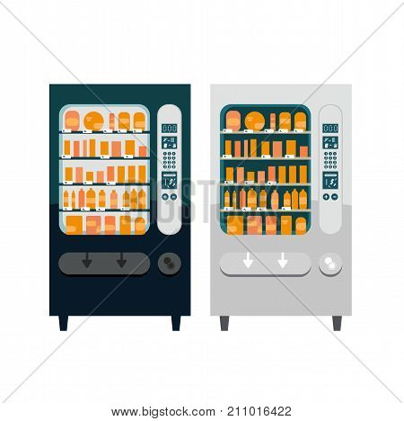 Set of two different vector vending machines flat illustration for business theme office food automates isolated on white.