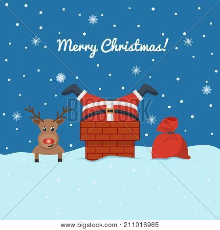Santa Claus stuck in the chimney on the roof. A deer and a bag with gifts. Legs protrude from the pipe. Christmas, New Year. Design for a postcard, banner, invitation. Vector illustration.