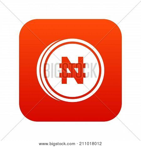 Coin naira icon digital red for any design isolated on white vector illustration