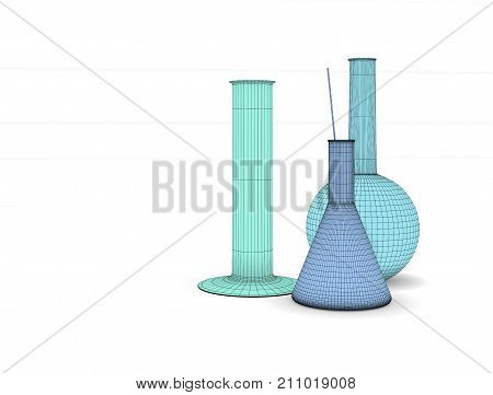 Laboratory glassware. Three flasks on the table. Image chemical glass flasks. Round flask, conical flask and measuring cylinder. Illustration of laboratory procedures.