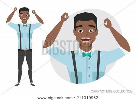 The black african american guy is happy and smiling. Cartoon style man. Emotion of joy and glee on the man face. The man portrait.