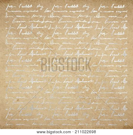 Old Paper With Silver Ink Handwriting Letter