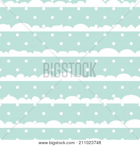 Blue and white polka dot clouds baby seamless vector pattern. Cute kid repeat background for fabric textile, muslin blanket and wallpaper design.