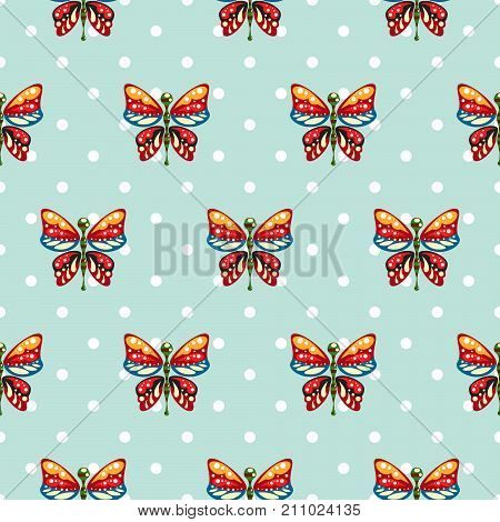 Butterfly blue polka dot baby seamless vector pattern. Cute kid repeat background for fabric textile, muslin blanket and wallpaper design.
