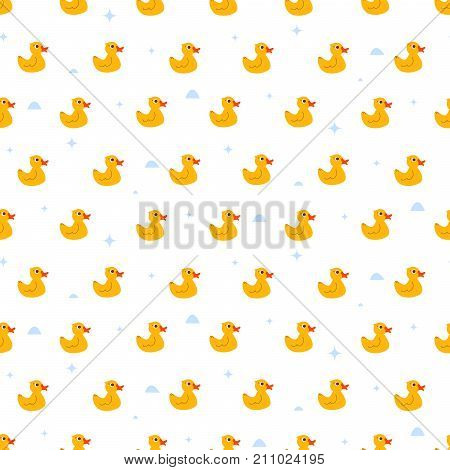 Cute ducky floats on pond seamless vector pattern. Funny kid animal repeat background for fabric textile, muslin blanket and wallpaper design.