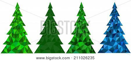 Set of abstract polygonal Christmas trees on a white background - vector