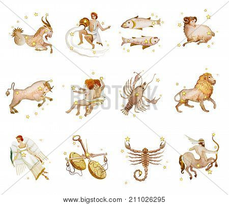 Set of twelve signs of the zodiac watercolor in retro style. Isolated on white background