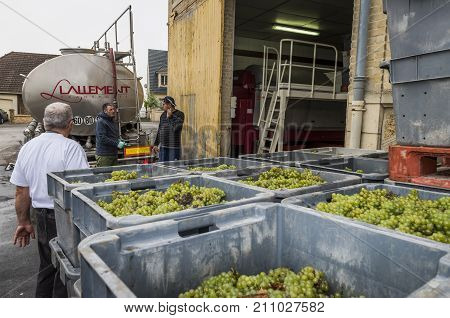 Trepail France - August 10 2017: The pressed grapes are pumpt into a tank truck at the pressoir of Pascal Carre and will be transported to the great Champagne houses.