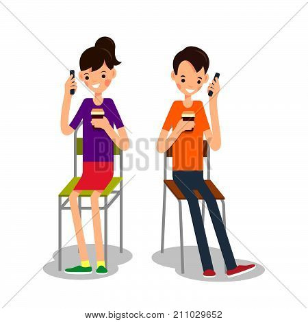 Man And Woman Sit, Drink Coffee And Talking On Phone