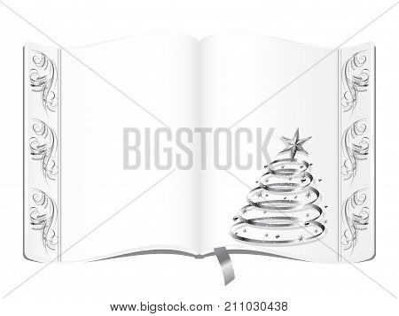 Open old book with silver christmas tree