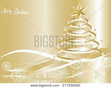 Golden Christmas background with luxury Christmas tree