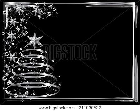 Christmas frame with silver stars and christmas tree