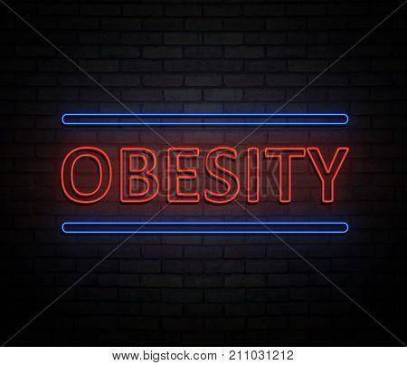 Neon Obesity Concept.
