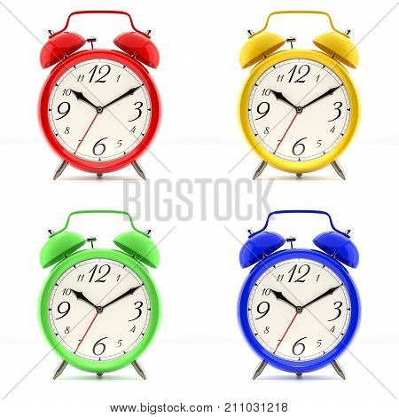 Set of 4 alarm clocks isolated on white background. Vintage style red, blue, green, yellow clock. 3D illustration