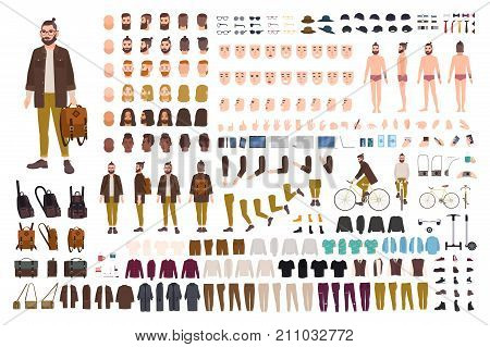 Hipster creation kit. Set of flat male cartoon character body parts, skin types, facial gestures, hairstyles, trendy clothing, stylish accessories isolated on white background. Vector illustration