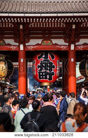 TOKYO, JAPAN - OCTOBER 18: Tourists flocking to Senso-ji Temple during Autumn Festivals in Asakusa district OCTOBER 18, 2017 in Tokyo, Japan