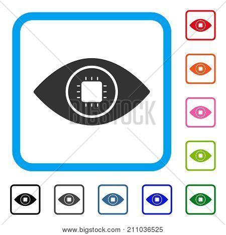 Bionic Eye Lens icon. Flat gray pictogram symbol in a light blue rounded rectangular frame. Black, gray, green, blue, red, orange color versions of Bionic Eye Lens vector.