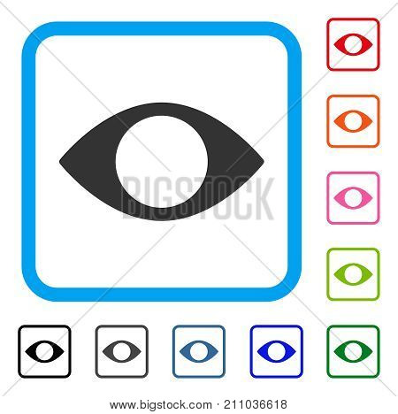 Blind Eye icon. Flat gray iconic symbol inside a light blue rounded rectangle. Black, gray, green, blue, red, orange color additional versions of Blind Eye vector. Designed for web and software UI.