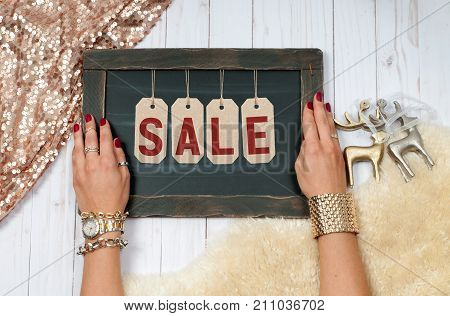 Holiday Sale. Female Hands With Jewelry. Fashion Accessories