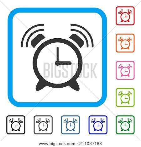 Buzzer icon. Flat grey iconic symbol inside a light blue rounded squared frame. Black, gray, green, blue, red, orange color additional versions of Buzzer vector. Designed for web and software UI.