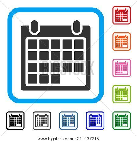 Calendar Sheet icon. Flat gray pictogram symbol inside a light blue rounded squared frame. Black, gray, green, blue, red, orange color versions of Calendar Sheet vector. Designed for web and app UI.