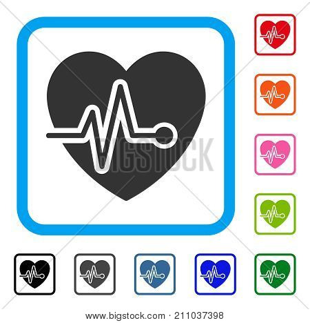 Cardio Pulse icon. Flat grey pictogram symbol inside a light blue rounded square. Black, gray, green, blue, red, orange color versions of Cardio Pulse vector. Designed for web and app UI.