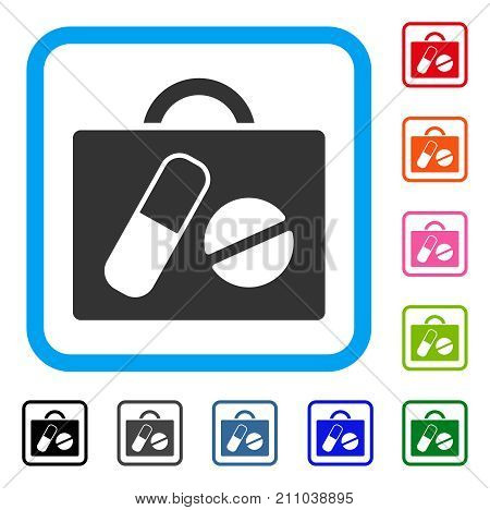 Drugs Case icon. Flat grey pictogram symbol in a light blue rounded rectangular frame. Black, gray, green, blue, red, orange color versions of Drugs Case vector. Designed for web and software UI.