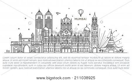 Vector Illustration. Business Travel and Tourism Concept with Historic Buildings.