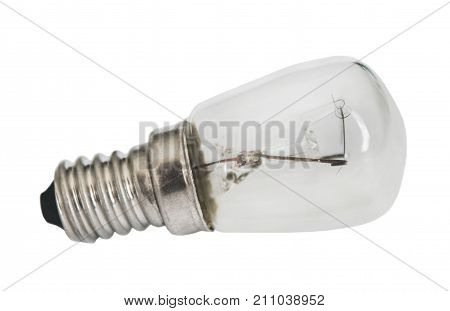 Small electric lamp closeup isolated on white background