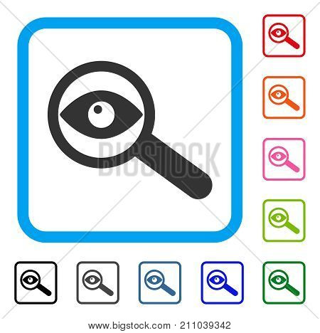 Examine Eye icon. Flat grey pictogram symbol inside a light blue rounded frame. Black, gray, green, blue, red, orange color versions of Examine Eye vector. Designed for web and software UI.