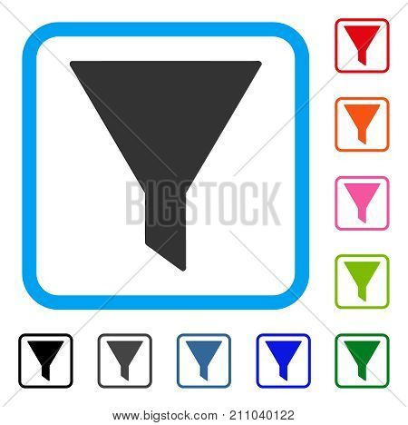 Funnel icon. Flat gray pictogram symbol inside a light blue rounded rectangle. Black, gray, green, blue, red, orange color variants of Funnel vector. Designed for web and software interfaces.