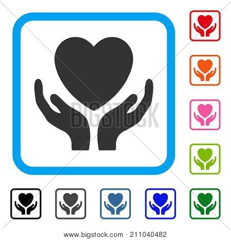 Heart Care Hands icon. Flat grey iconic symbol in a light blue rounded squared frame. Black, gray, green, blue, red, orange color variants of Heart Care Hands vector.