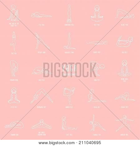 Yoga pose line icons set simple signs of people in 24 popular asanas white outline lineart signs isolated on pink background - vector design elements