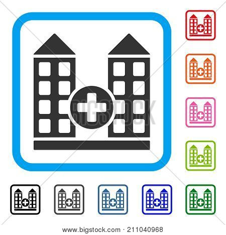 Hospital icon. Flat grey iconic symbol inside a light blue rounded square. Black, gray, green, blue, red, orange color versions of Hospital vector. Designed for web and application user interface.