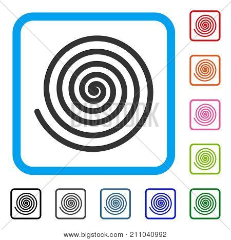 Hypnosis Spiral icon. Flat grey pictogram symbol in a light blue rounded squared frame. Black, gray, green, blue, red, orange color versions of Hypnosis Spiral vector.