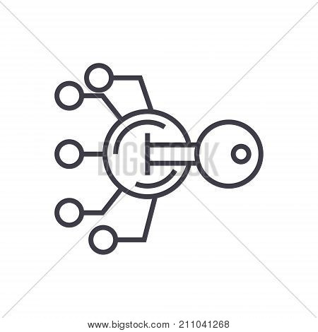 encryption, cryptography key concept vector thin line icon, sign, symbol, illustration on isolated background