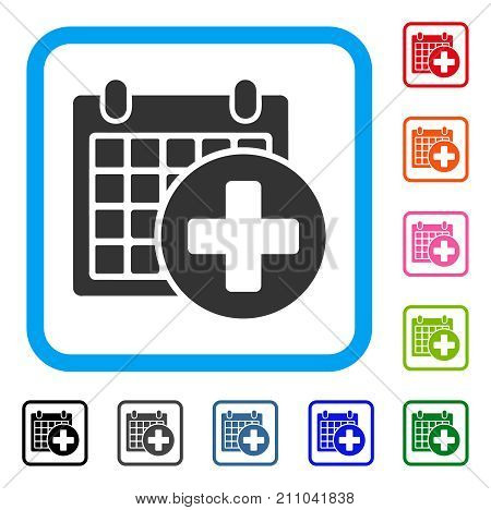 Medical Appointment icon. Flat grey iconic symbol inside a light blue rounded rectangular frame. Black, gray, green, blue, red, orange color additional versions of Medical Appointment vector.