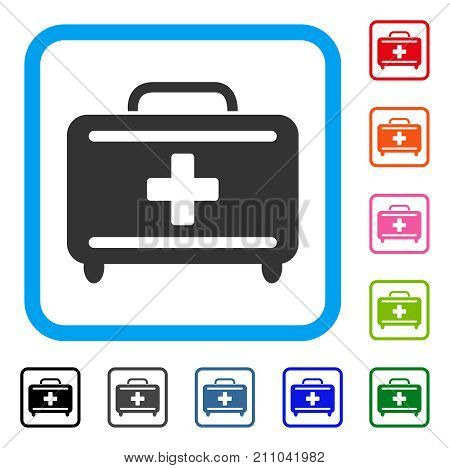 Medical Briefcase icon. Flat grey iconic symbol inside a light blue rounded frame. Black, gray, green, blue, red, orange color versions of Medical Briefcase vector.