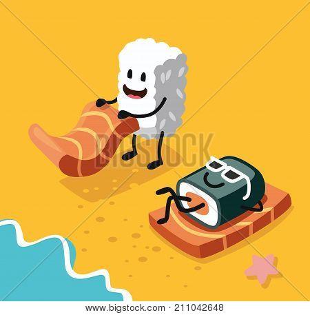 Sashimi happy and sushi in sunglasses on beach. Vector flat
