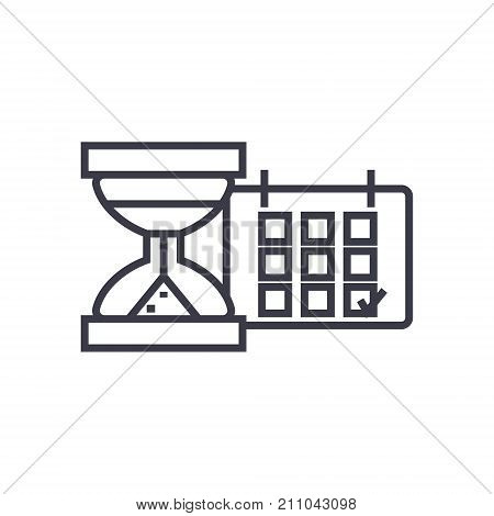 deadline, calendar with sand glass concept vector thin line icon, sign, symbol, illustration on isolated background
