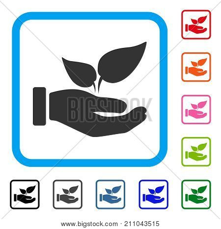 Organic Supplement Hand icon. Flat gray pictogram symbol in a light blue rounded frame. Black, gray, green, blue, red, orange color additional versions of Organic Supplement Hand vector.